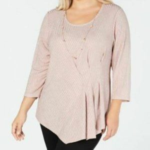 JM Collection Ribbed Blouse with Necklace